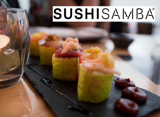 Sushi Samba fusion sushi with 4 pieces of different fills