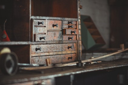 Royalty free image of an old drawer
