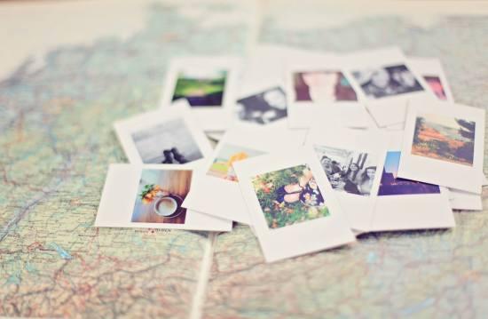 polaroid pics on map